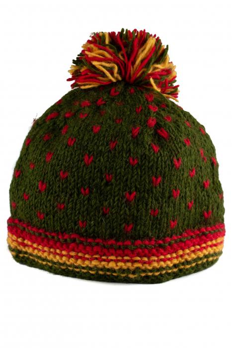 Caciula din lana Green - Red bits 0