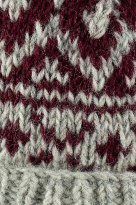 Caciula din lana - Grey and Burgundy 5