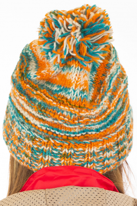 Caciula din lana Stripes - Orange and Blue 6