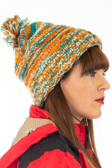 Caciula din lana Stripes - Orange and Blue 1