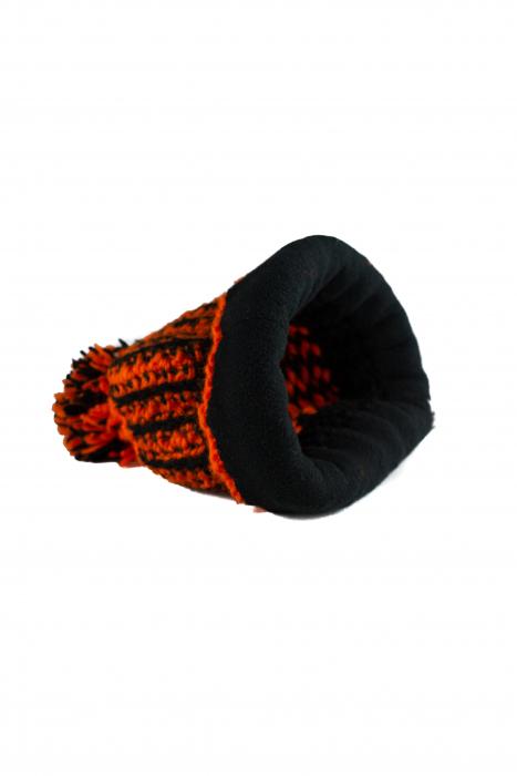 Caciula din lana - Orange and Black 3