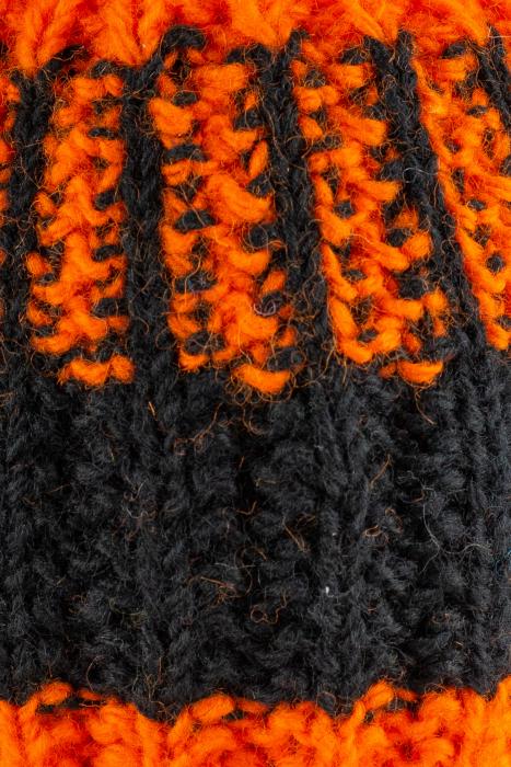 Caciula din lana - Orange and Black 5