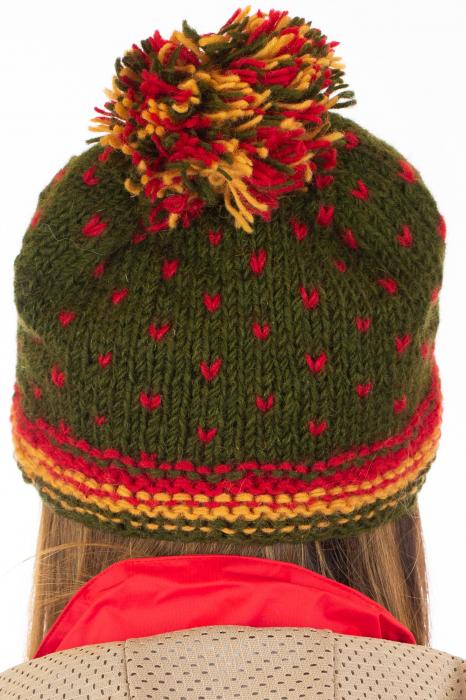Caciula din lana Green - Red bits 5