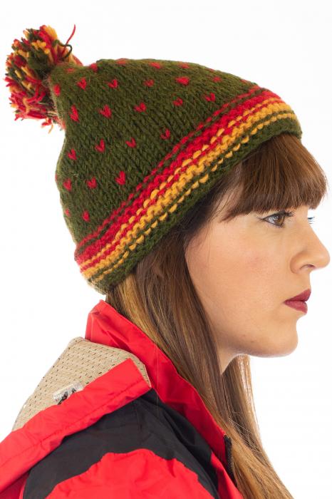 Caciula din lana Green - Red bits 1