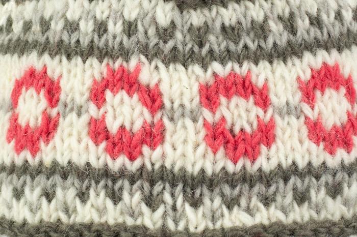 Caciula din lana copii - Pink and Grey 1