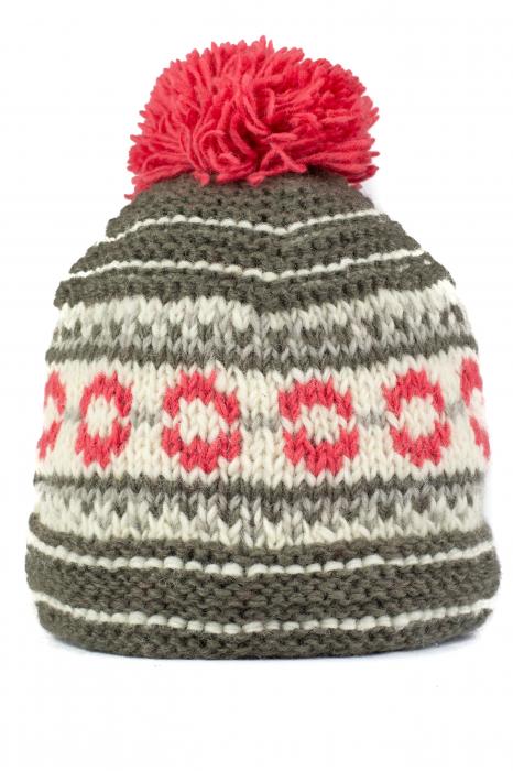 Caciula din lana copii - Pink and Grey 0