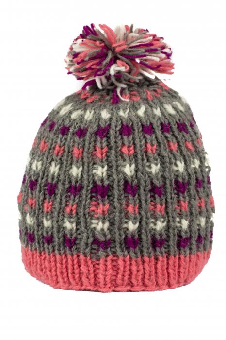 Caciula din lana - Pink bits 1
