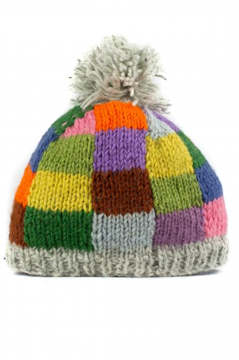 Caciula din lana copii - Rainbow patches 1
