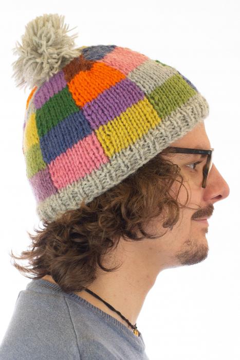 Caciula din lana - Rainbow patches 2