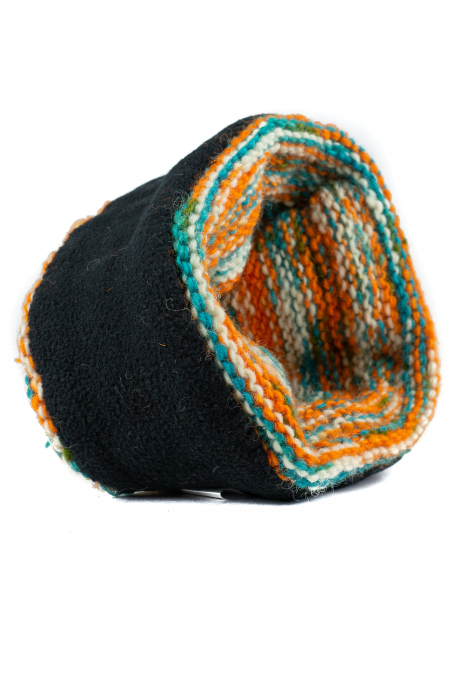 Caciula din lana Stripes - Orange and Blue 5