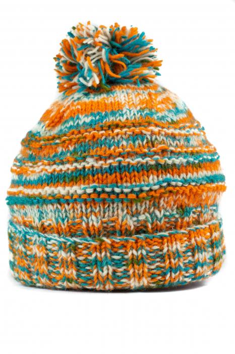 Caciula din lana Stripes - Orange and Blue 0