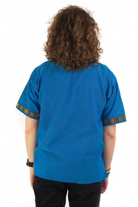 Camasa albastra cu maneca scurta - Motive etno [3]
