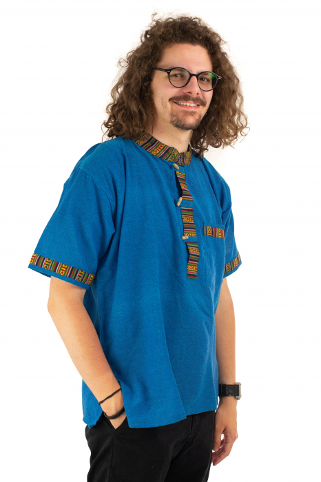 Camasa albastra cu maneca scurta - Motive etno [2]