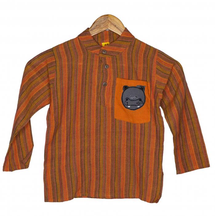 Camasa copii maneca lunga din bumbac portocalie - Hipopotam M11 [0]