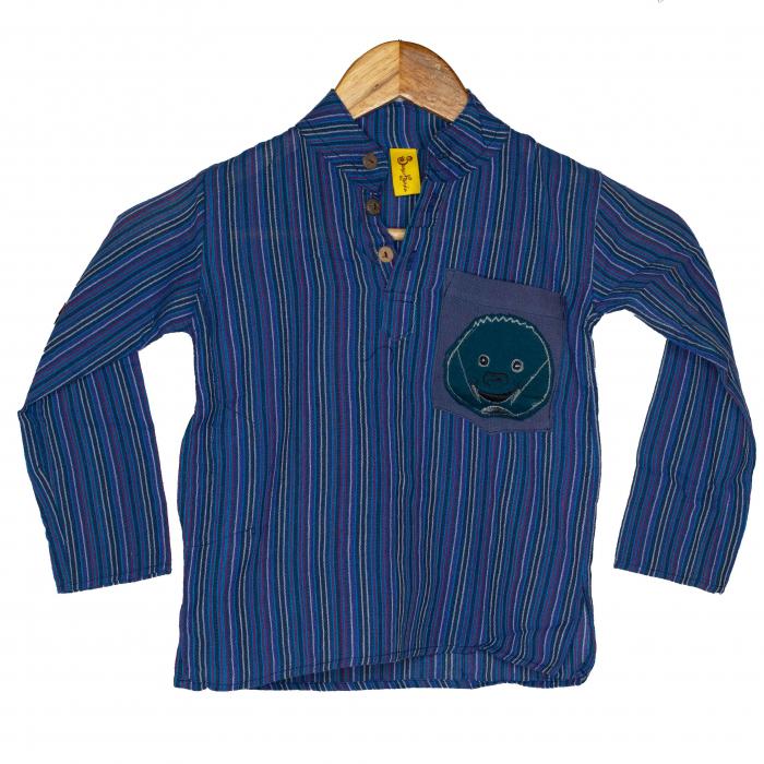 Camasa copii maneca lunga din bumbac albastra - Porcusor M12 0
