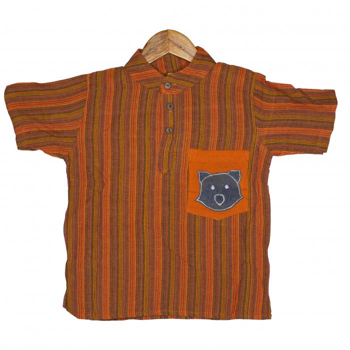 Camasa copii maneca scurta din bumbac portocalie - Raton M5 0