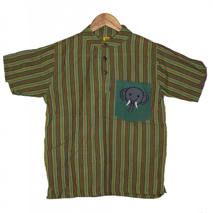 Camasa copii maneca scurta din bumbac verde - Elefant M8 0