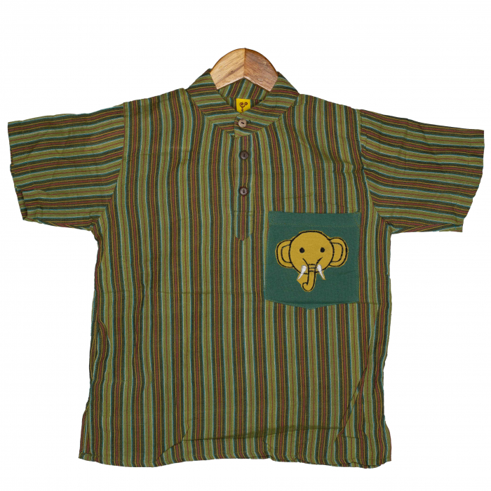 Camasa copii maneca scurta din bumbac verde - Elefant M13 0