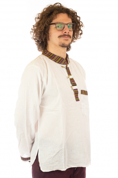 Camasa cu maneca lunga - Etno - Alb [4]