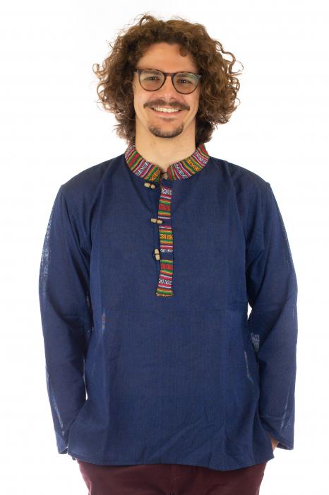 Camasa cu maneca lunga - Etno - Albastru Inchis [0]