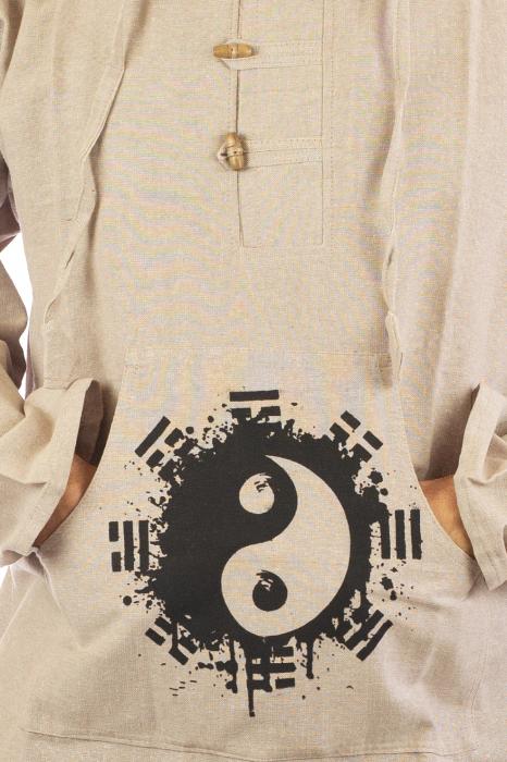 Hanorac cu print - Ying Yang - Alb 2