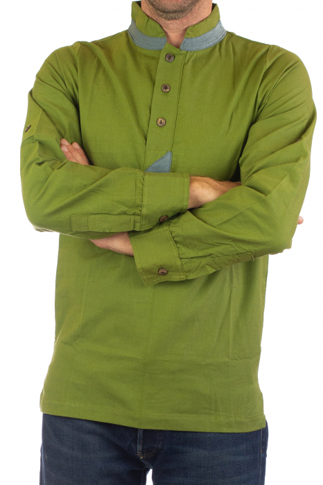 Camasa cu maneca lunga - Grey Collar - Verde [4]