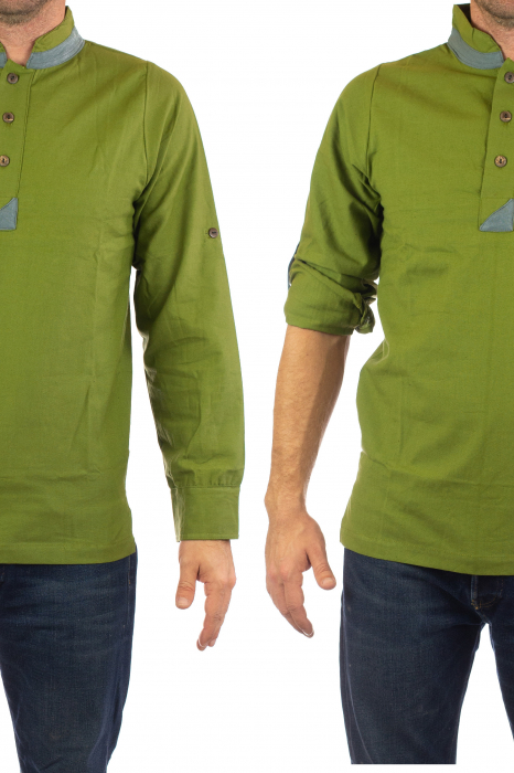 Camasa cu maneca lunga - Grey Collar - Verde 1