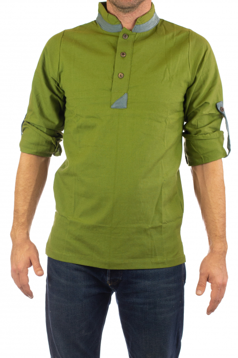 Camasa cu maneca lunga - Grey Collar - Verde 2