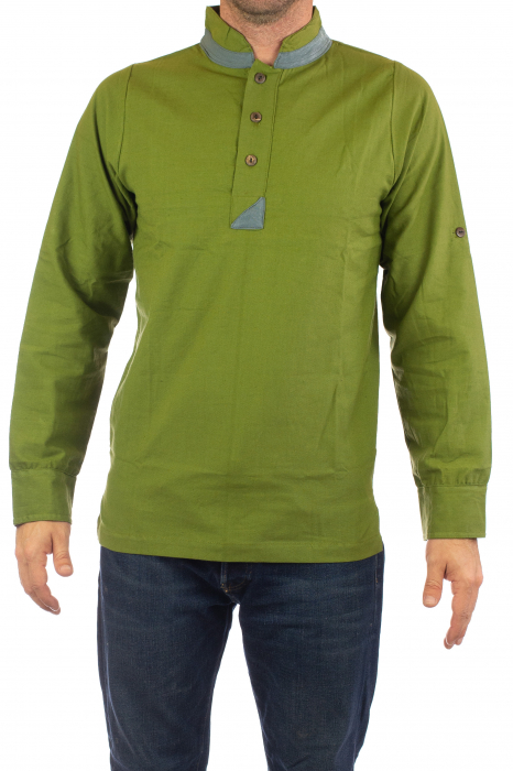 Camasa cu maneca lunga - Grey Collar - Verde 0