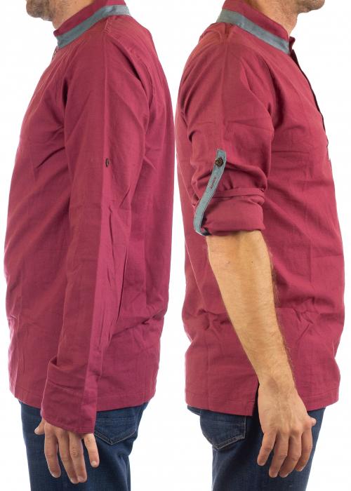 Camasa cu maneca lunga - Grey Collar - Visiniu [3]