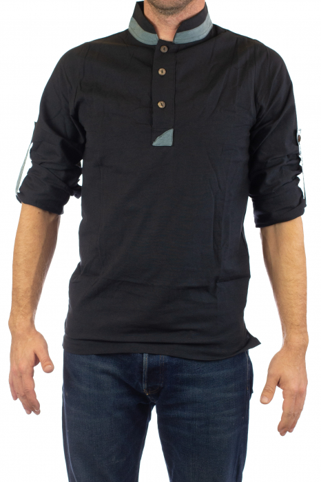 Camasa cu maneca lunga - Grey Collar - Negru [6]