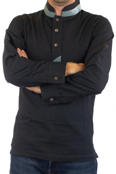 Camasa cu maneca lunga - Grey Collar - Negru [2]