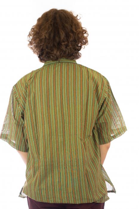 Camasa cu maneca scurta, in dungi - Verde 3