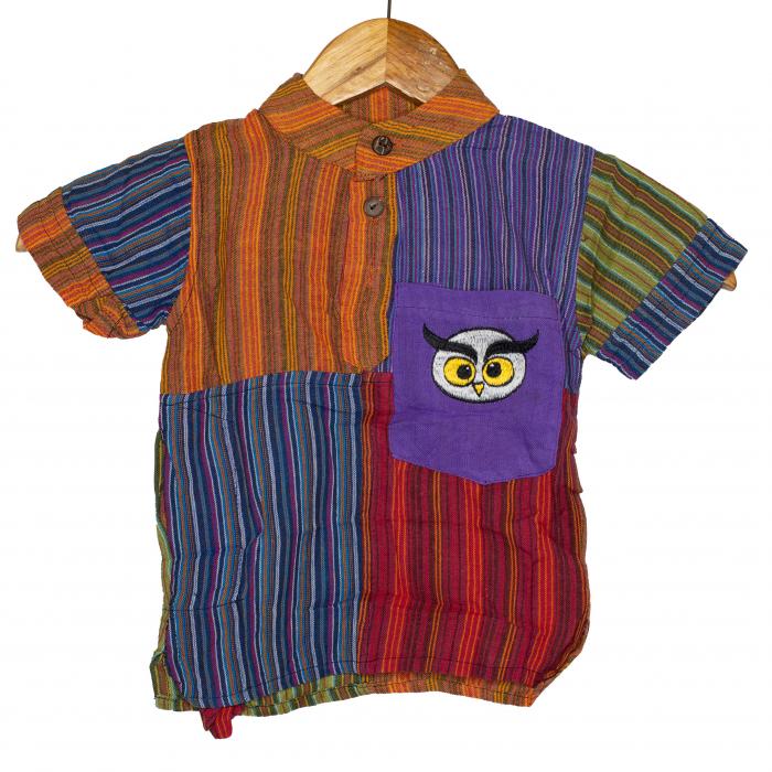 Camasa cu maneca scurta din bumbac unicat pentru copii- S - Bufnita M2 0