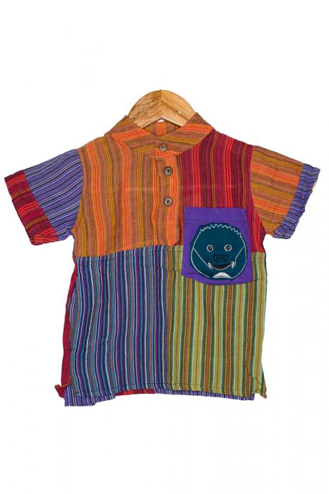 Camasa cu maneca scurta din bumbac unicat pentru copii- S - Porcusor M13 0
