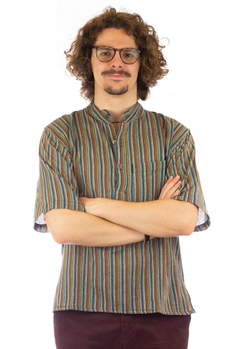 Camasa cu maneca scurta, in dungi - Gri Multicolor 2