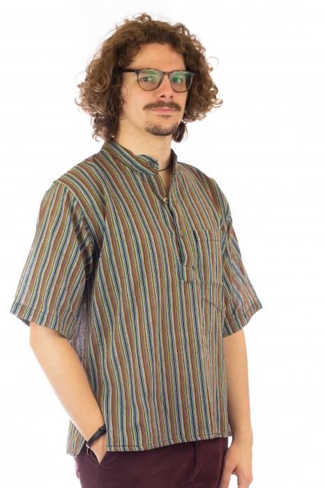 Camasa cu maneca scurta, in dungi - Gri Multicolor 0