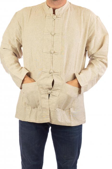 Camasa cu nod chinezesc - Chinese knot shirt - Crem [3]