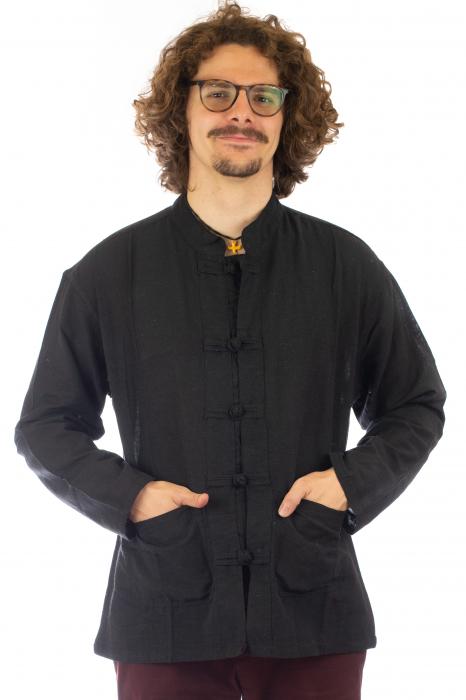 Camasa cu nod chinezesc - Chinese knot shirt - Negru - Model 2 [2]