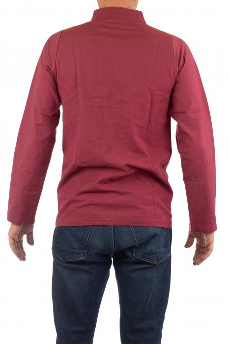Camasa cu nod chinezesc - Chinese knot shirt - Visiniu 3