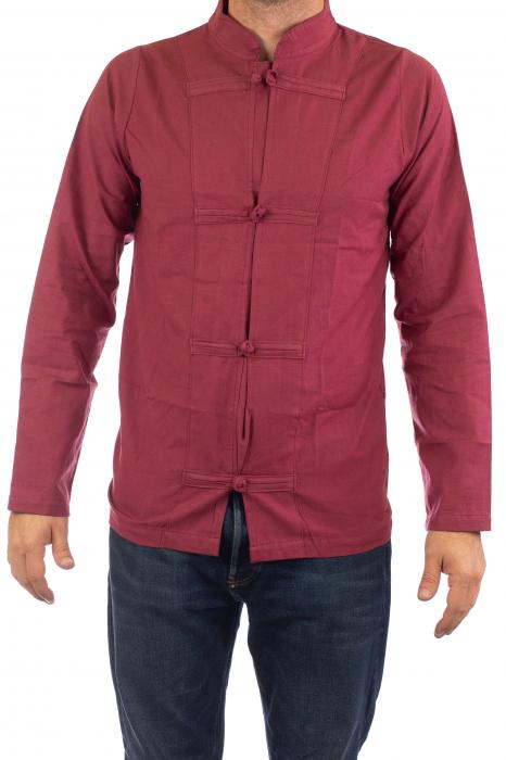 Camasa cu nod chinezesc - Chinese knot shirt - Visiniu 1