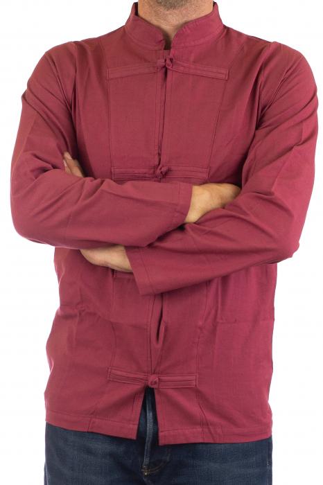 Camasa cu nod chinezesc - Chinese knot shirt - Visiniu 2