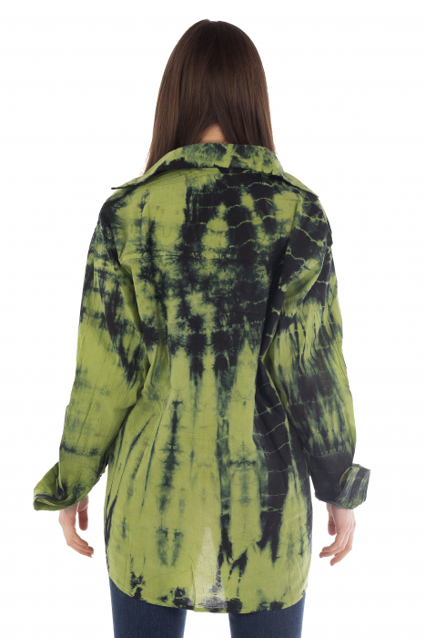 Camasa din bumbac cu maneca lunga - Tye Dye print - VERDE [1]