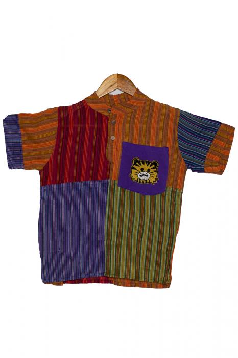 Camasa din bumbac de copii, Tigru marimea XL - maneca scurta unicata M2 0