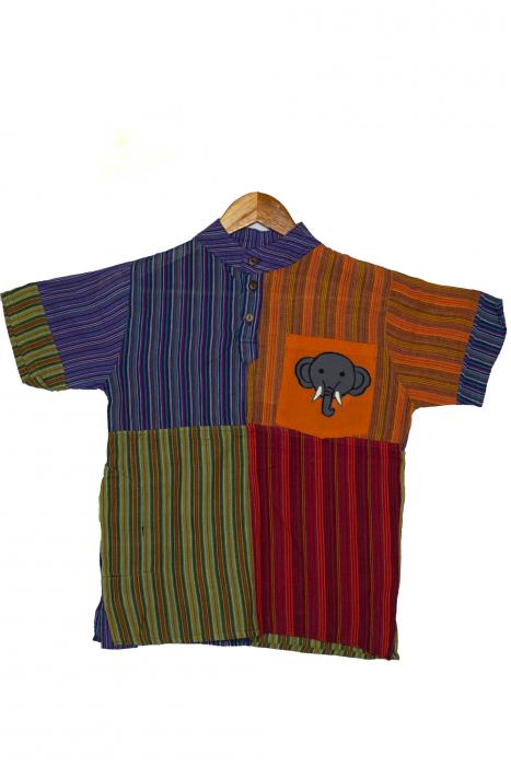 Camasa din bumbac de copii, Elefant marimea XL - maneca scurta unicata M3 0