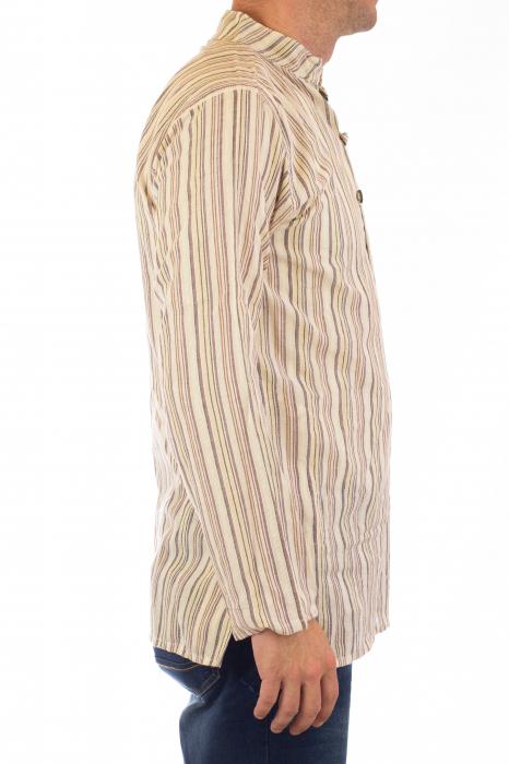 Camasa lejera de bumbac cu maneca lunga- Dungi - Crem 3