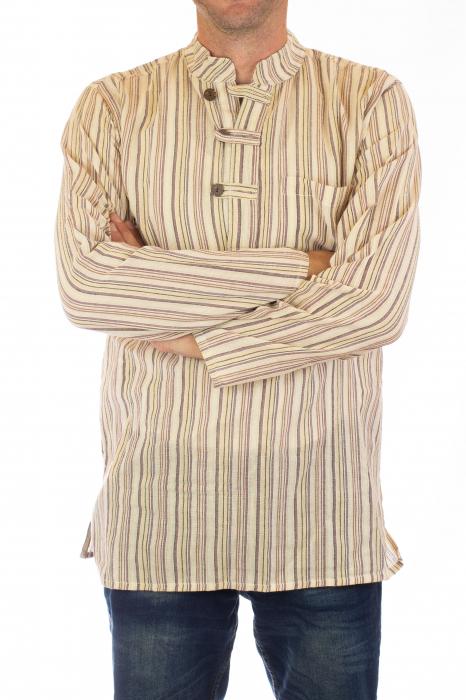 Camasa lejera de bumbac cu maneca lunga- Dungi - Crem 1