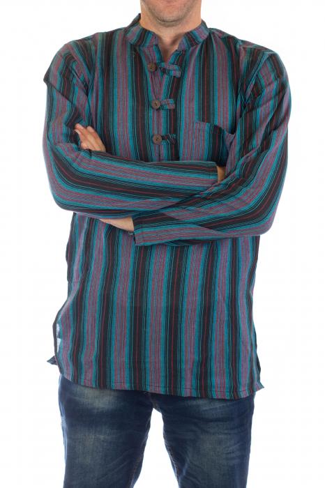 Camasa lejera de bumbac cu maneca lunga- Dungi - Multicolor [1]