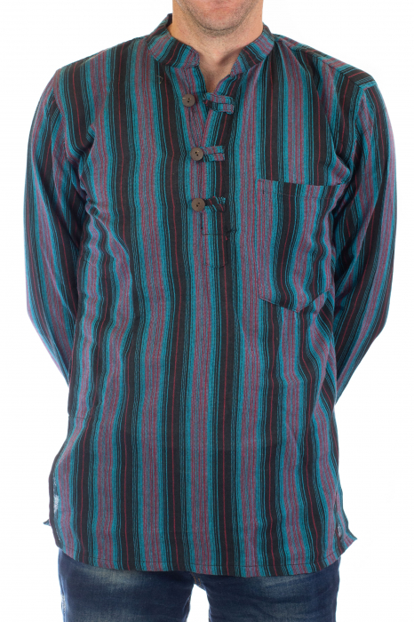 Camasa lejera de bumbac cu maneca lunga- Dungi - Multicolor [2]