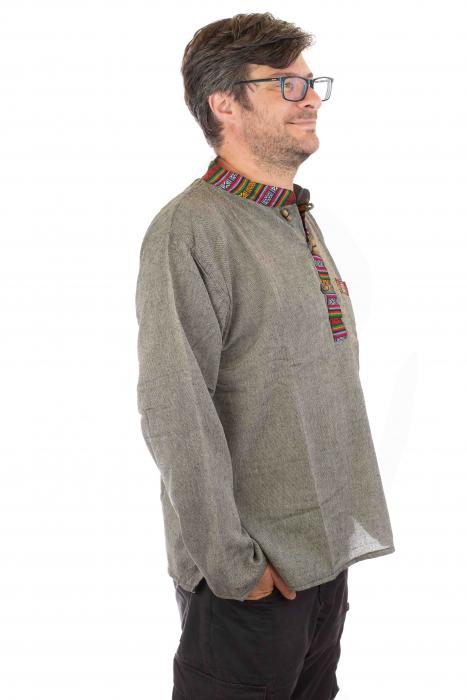Camasa lejera de bumbac cu maneca lunga- Etno - Gri 1